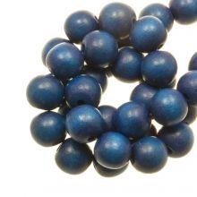 ronde houten kralen cobalt blauw kleur 8 mm maat