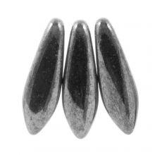 Dagger Glaskralen (5 x 16 mm)  Jet Hematite (25 stuks)
