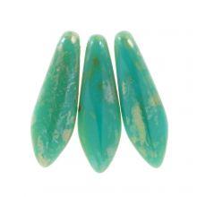 Dagger Glaskralen (5 x 16 mm) Jade Picasso (25 stuks)