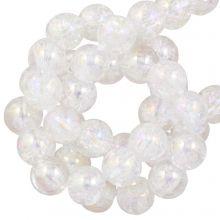 Electroplated Crackle Glaskralen (6 mm) Crystal AB (70 stuks)