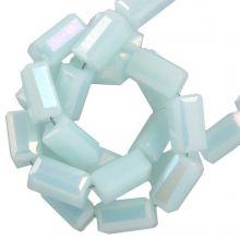 Electroplated Glaskralen (4 x 2 mm) Soft Blue (100 Stuks)