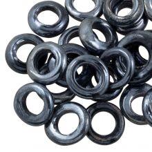 Gesloten Ringen Glas (buitenmaat 14 mm binnenmaat 8 mm) Antracite (25 stuks)