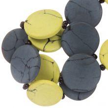 Keramiek kralen (23 x 3.5 mm) Yellow / Grey (8 Stuks)