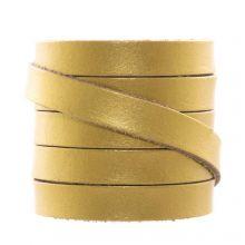 DQ Plat Leer (10 x 2 mm) Metallic Gold (1 Meter)