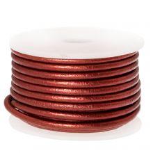 DQ leer Metallic (2 mm) Red (5 Meter)