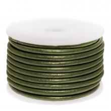 DQ leer Metallic (3 mm) Olive Green (5 Meter)