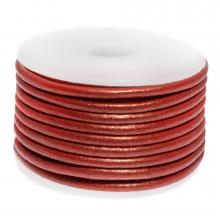 DQ leer Metallic (3 mm) Bright Red (5 Meter)