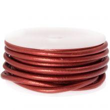 DQ leer Metallic (3 mm) Red (5 Meter)