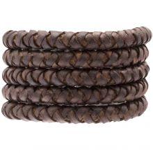 DQ Gevlochten Leer (8 mm) Chestnut (1 Meter)