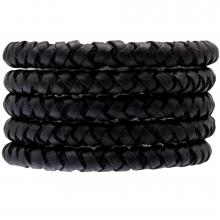 DQ Gevlochten Leer (8 mm) Black (1 Meter)