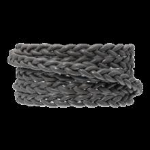 DQ Plat Gevlochten Leer Regular (6 x 3.5 mm) Warm Grey (1 Meter)