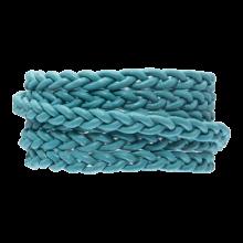 DQ Plat Gevlochten Leer Regular (6 x 3.5 mm) Sky Blue (1 Meter)