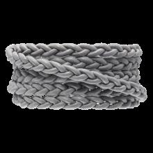 DQ Plat Gevlochten Leer Regular (6 x 3.5 mm) Light Grey (1 Meter)