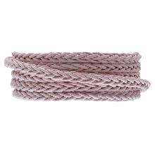 DQ Gevlochten Leer Regular (4 mm) Soft Pink (1 Meter)