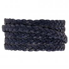 Plat gevlochten DQ leer (5 x 2 mm) Navy Blue (1 Meter)
