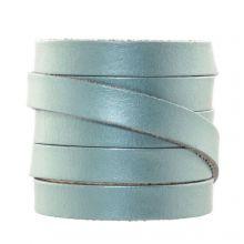 DQ Plat Leer (10 x 2 mm) Metallic Powder Blue (1 Meter)