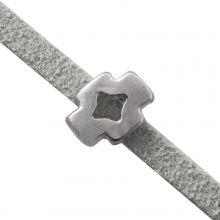 Schuiver Kruis (Binnenmaat 3 x 2 mm) Antiek Zilver (10 Stuks)