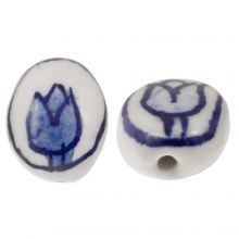 Delfts Blauwe Keramiek Kralen Ovaal Tulp (14 x 11 x 7) White-Blue (4 stuks)