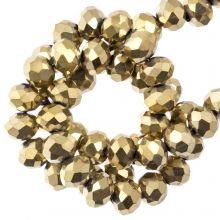 Facetkralen Rondell (3 x 4 mm) ) Frozen Gold (130 Stuks)