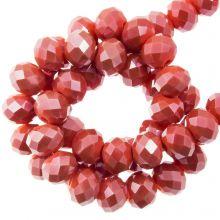 Facetkralen Rondell (3 x 4 mm) ) Coral Red (130 Stuks)