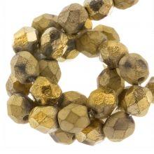 DQ Fire Polished Kralen (Amber Gold) 6 mm (25 Stuks)