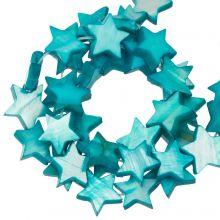 Schelp Kralen Ster (11  mm) Aqua Blue (38 Stuks)