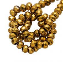 Hematite Kralen Facet (3 x 2 mm) Gold (200 Stuks)