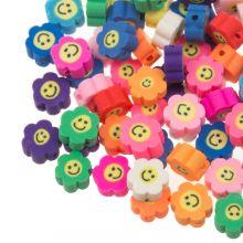 Kralenmix - Polymeer Kralen Bloem Smiley (10 x 4.5 mm) Mix Color (50 stuks)