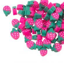 Polymeer Kralen Aardbei (12 x 4 mm) Pink / Green (30 stuks)
