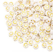 Acryl Kralen Smiley (7 x 3.5 mm) White / Gold (50 stuks)
