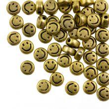 Acryl Kralen Smiley (7 x 3.5 mm) Gold (50 stuks)