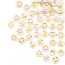 Acryl Kralen Mix (7 x 3.5 mm) White / Gold (50 stuks)