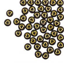 Letterkralen Hartjes (7 x 4 mm) Black / Gold (50 stuks)