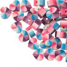 Polymeer Kralen Hartje (10 x 5 mm) Mix Color Blue / Pink (50 stuks)
