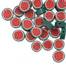 Polymeer Kralen Watermeloen (10 x 5 mm) Red / Green (50 stuks)