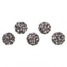 Shamballa kralen (10 mm) Black Diamond  (5 stuks)