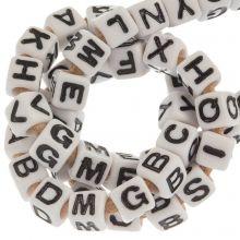 Letterkralen mix (7 x 7 mm) White (50 stuks)