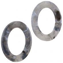 Acryl Ringen (37 x 28 x 3.5 mm) Grey (25 stuks)