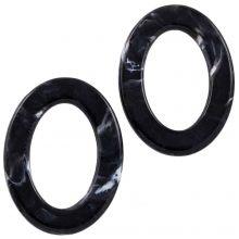 Acryl Ringen (37 x 28 x 3.5 mm) Black (25 stuks)