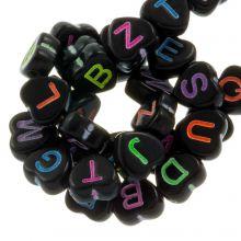 Letterkralen Hartjes Mix (7 x 7 mm) Black / Mix Color (200 stuks)
