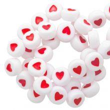 Letterkralen Hartjes (7 x 4 mm) White / Red (350 stuks)
