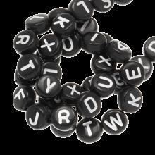Letterkralen mix (7 x 4 mm) Black (400 stuks)
