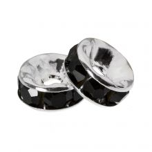 Rhinestone Spacers (6 x 3 mm) Black (10 Stuks)