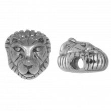 Stainless Steel Kralen Leeuw (12 x 8 mm) Antiek Zilver (1 Stuk)