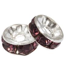 Rhinestone Spacers (8 x 4 mm) Purple (10 Stuks)