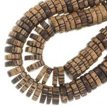 natuur houten kralen partikan licht en donker hout 15 mm