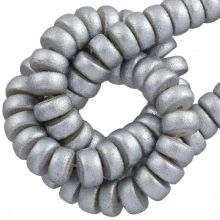zilver kleurige houten kralen geverfd metallic 8 mm