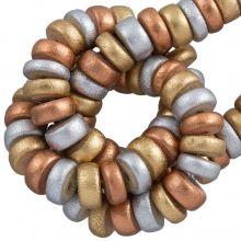 houten metallic kralen geverfd koper goud zilver 8mm