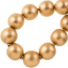 Houten Kralen Metallic Look (30 mm) Gold (13 stuks)