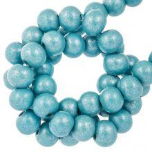 metallic blauwe houten kralen 8 mm